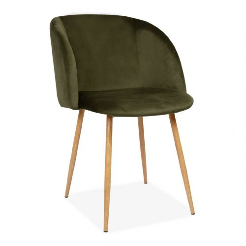 x2 Rosemary Tub Accent Armchair, Velvet Upholstered, Deep Green Seat & Beech Style Legs